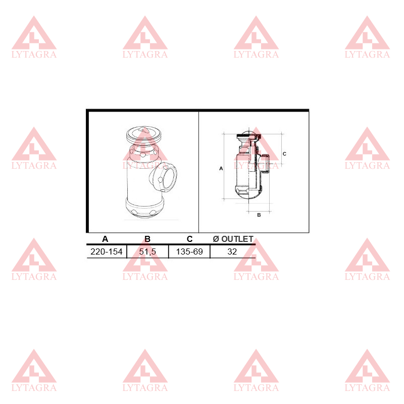 SIFONAS 11/4x70 (02196) SU TERŠALŲ RINKTUVU PRAUST