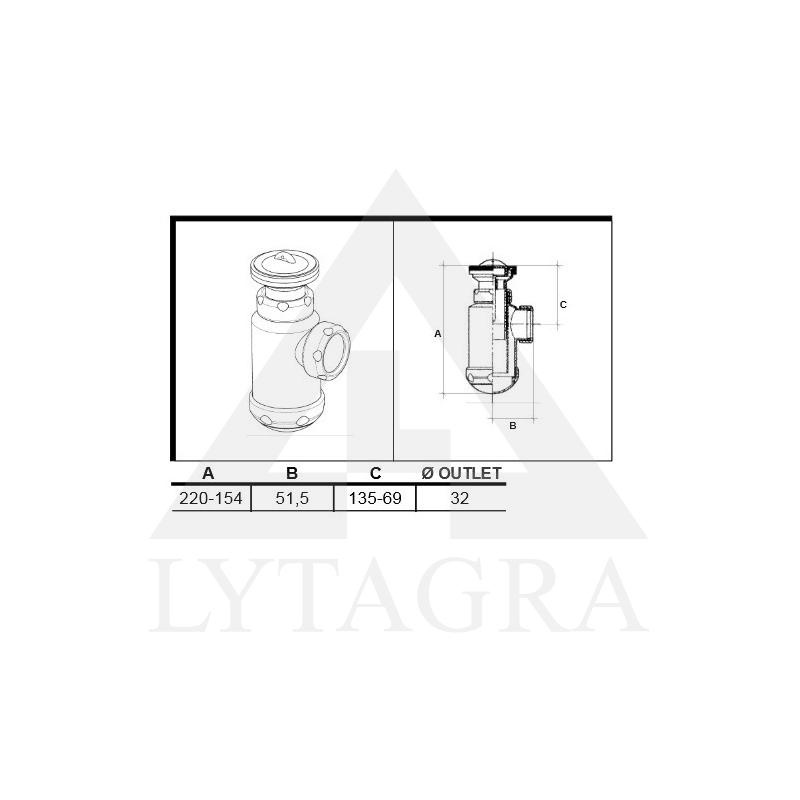 SIFONAS 11/2x70 (02208) SU TERŠALŲ RINKTUVU PRAUST