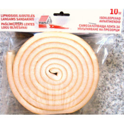 Sandarinimo juosta poroloninė lipni 8x10 mm, 5 juostos x 2 m