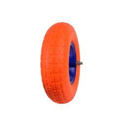 Poliuretaninis oranžinis ratas 4.00-6 raudonu disku ir ašimi G71027