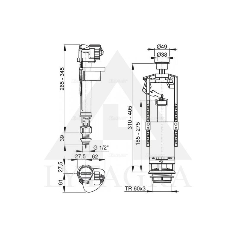 SA2000 1/2 vandens nuleidimo mechanizmas su STOP funkcija