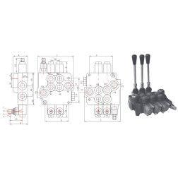 Kryptinis trijų sekcijų (visos sekcijos plaukiojančios) hidraulikos valdymo vožtuvas 03P80-L12L12L12-GKZ1