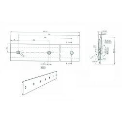 Greiderio peilis vienpusis, lygus, tvirtinimo taškai per vidurį 1,82m.